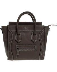 Celine Dark Beige Leather Nano Luggage Tote - Natural