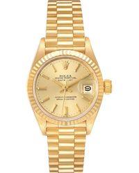 Rolex Champagne 18k Yellow Gold President Datejust 69178 Wristwatch 26 Mm - Metallic