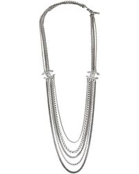 Chanel Silver Tone Multi Chain Strand Cc Crystal Station Necklace - Metallic