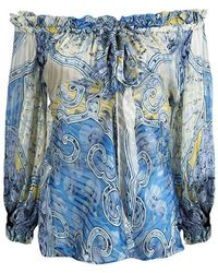 Roberto Cavalli Blue Printed Silk Ruffle Detail Off Shoulder Sheer Blouse S