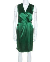 JOSEPH Green Silk Satin Stellina Wrap Dress
