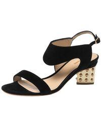Nicholas Kirkwood Black Suede Studded Block Heel Sandals