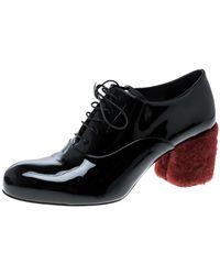 Miu Miu Black Patent Leather Red Shearling Fur Heel Oxfords