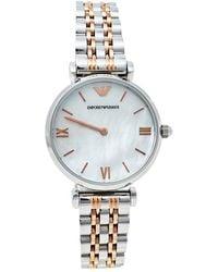 Emporio Armani Mother Of Pearl Two-tone Stainless Steel Retro Ar1987 Wristwatch - White