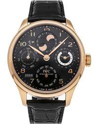 Iwc Black 18k Rose Gold Portugieser Perpetual Calendar Iw5021-19 Wristwatch 44 Mm