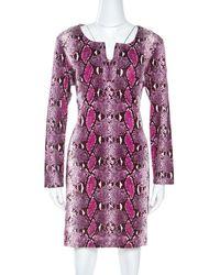 Diane von Furstenberg Pink Snake Print Silk Jersey Reina Mini Dress Xl