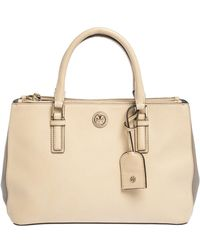 Tory Burch - Beige/grey Leather Robinson Double Zip Tote - Lyst