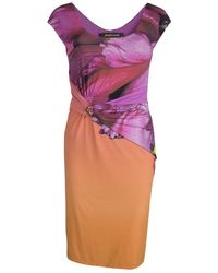 Roberto Cavalli Multicolour Printed Draped Dress - Purple