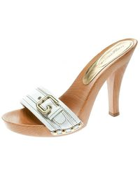 Dolce & Gabbana White Leather Buckle Detail Wooden Clogs