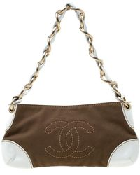 Chanel - White/brown Canvas And Leather Cc Pochette Bag - Lyst