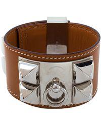 Hermès Hermès Collier De Chien Tan Brown Leather Cuff Bracelet