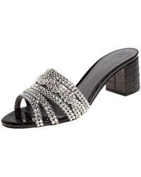 Gina Black Croc Embossed Patent Leather And Crystal Embellished Visage Slide Sandals