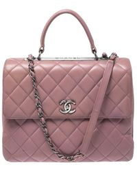 Chanel Old Rose Lambskin Leather Trendy Cc Large Top Handle Bag - Pink