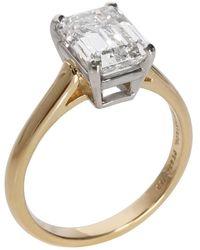 Tiffany & Co. Emerald Diamond Solitaire 18k Gold/platinum Ring - Metallic