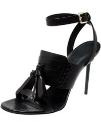 Burberry - Black Leather Clarence Penny Keeper Tassel Strap Sandals Size 39 - Lyst