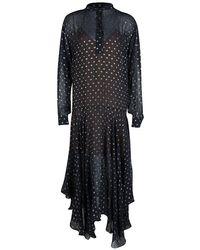 Stella McCartney Navy Blue Lurex Clip Dot Chiffon Maxi Dress