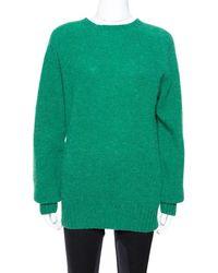 Celine Green Wool Knit Crew Neck Sweater