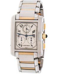 Cartier Cream 18k Yellow Gold Stainless Steel Tank Francaise Chronoflex 2303 Men's Wristwatch 28 Mm - Metallic