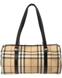 Burberry Beige/black House Check Coated Canvas Duffel Bag - Natural