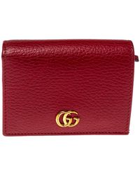 Gucci Red Beige Leather GG Marmont Card Case