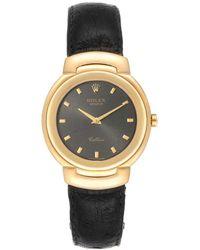 Rolex Grey 18k Yellow Gold Cellini 6622 Wristwatch 33 Mm