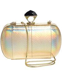 Diane von Furstenberg Gold Snakeskin Effect Leather Powerstone Minaudiere Clutch - Metallic