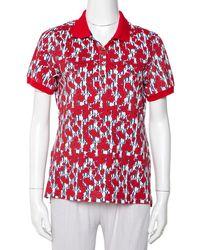 Carolina Herrera Ch Red Floral & Logo Printed Cotton Pique Polo T-shirt