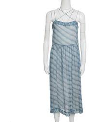 0cea703b695 Isabel Marant - Etoile And White Striped Silk Chiffon Sleeveless Dress S -  Lyst