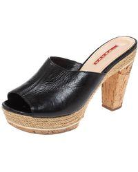 Prada Black Leather Espadrille Cork Heel Slide Platform Sandals