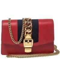 Gucci Red Leather Super Mini Sylvie Crossbody Bag