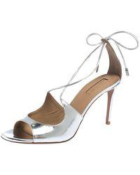 Aquazzura Metallic Silver Leather Sofia Sandals Size 38
