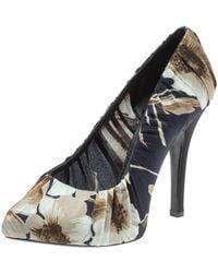 Dolce & Gabbana Floral Print Pleated Satin Platform Pumps - Multicolor
