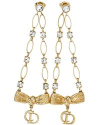 Dior Gold Tone Crystal Cd Bow Charm Dangle Earrings - Metallic