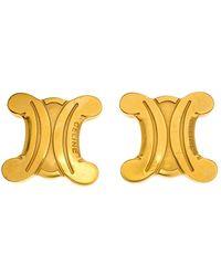 Celine Gold Metal Tone Clip On Earrings - Metallic