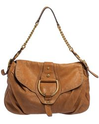Dolce & Gabbana Brown Leather D-ring Hobo