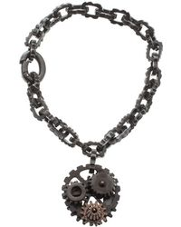Bottega Veneta - Brown Gear Chain Silver Link Bracelet S - Lyst