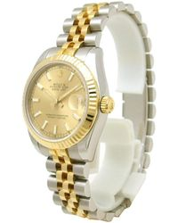Rolex Champagne 18k Yellow Gold And Stainless Steel Datejust Women's Wristwatch 31mm - Metallic