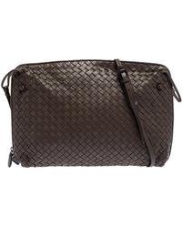Bottega Veneta Gris Poivre Intrecciato Leather Crossbody Bag - Brown