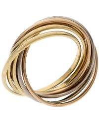 Cartier Trinity 18k Three Tone Gold 7 Band Rolling Ring Size 61 - Metallic