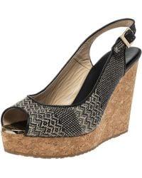 Jimmy Choo Black Woven Fabric Prova Slingback Wedge Sandals