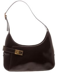 Ferragamo Brown Leather Gancio Hobo