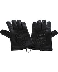 Gucci Black Snake Embossed Leather Gloves