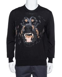 Givenchy Black Wool Rottweiler Intarsia Knit Sweater