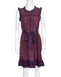 Marc By Marc Jacobs Multicolour Printed Silk Ruffled Trim Belted Dress - Purple