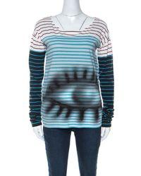 Prada Multicolour Stripes And Eye Print Cotton Long Sleeve T-shirt - Blue