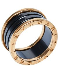 BVLGARI B.zero1 Ceramic 18k Rose Gold Four-band Ring - Metallic