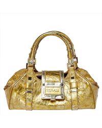 Versace - Metallic Gold Crinkled Leather Satchel - Lyst