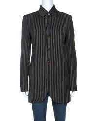 Jean Paul Gaultier Jean-paul Gaultier Femme Vintage Black Striped Wool Blend Blazer M