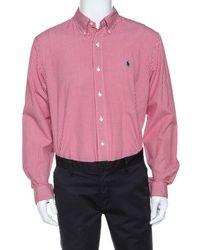 Ralph Lauren - Red Checked Cotton Button Front Shirt - Lyst