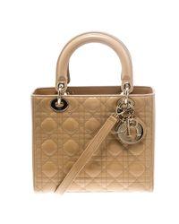 Dior - Light Patent Leather Medium Lady Tote - Lyst